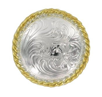 Shiny Silver & Gold Round Rope Edge Concho