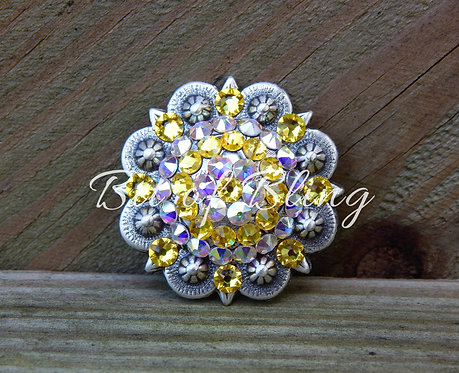 Antique Silver Round Berry Concho - Citrine & Crystal AB