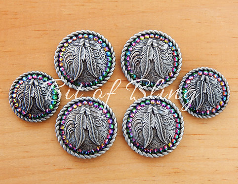 Antique Silver Round Rope Edge Feathers Saddle Concho Set - Green Volcano