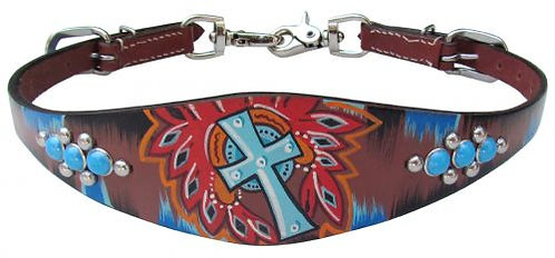 Studded Turquoise Cross Wither Strap
