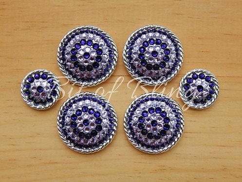 Shiny Silver Round Rope Edge Saddle Set - Purple Velvet & Violet