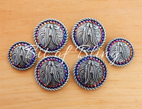 Antique Silver Round Rope Edge Feathers Saddle Concho Set - Blue Volcano