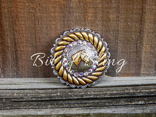 Antique Silver & Gold Round Rope Edge Horse Head Concho - Crystal AB