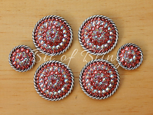 Antique Silver Round Rope Edge Saddle Set - Padparadscha & Padparadscha AB
