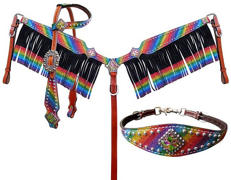 3pc Rainbow Glitter Fringe Tack Set