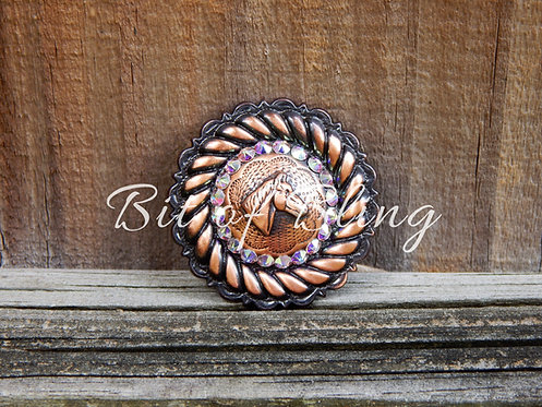 Copper Round Rope Edge Horse Head Concho - Crystal AB