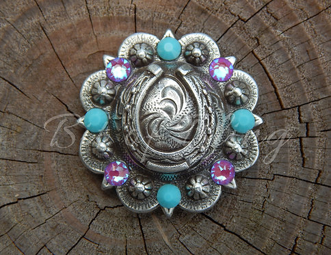 Antique Silver Round Berry Horseshoe Concho - Turquoise & Electric Violet Delite