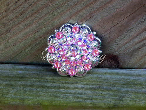 Shiny Silver Round Berry Concho - Lotus Pink Delite & Crystal AB