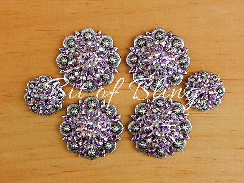 Antique Silver Round Berry Saddle Set - Lt. Amethyst & Crystal AB