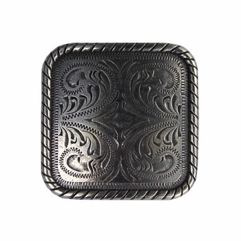 Antique Silver Square Rope Edge Concho