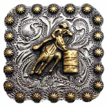 Antique Silver Square Berry Barrel Racer Concho