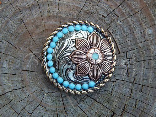 Floral Round Rope Edge Concho - Turquoise