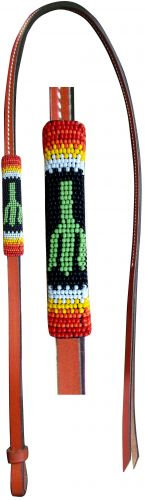 Beaded Leather Over & Under Whip, Cactus