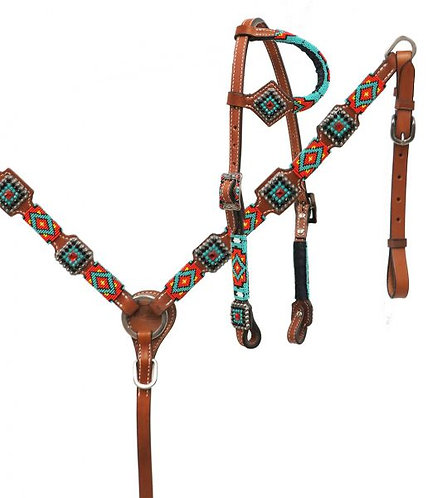 Teal, Gold, Black Navajo Beaded Tack Set
