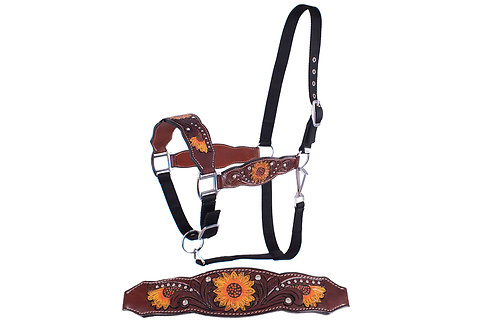 Crystal Studded Sunflower Painted & Tooled Bronc Halter