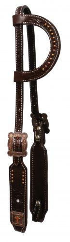 Basket Tooled Copper Studded One Ear Leather Headstall