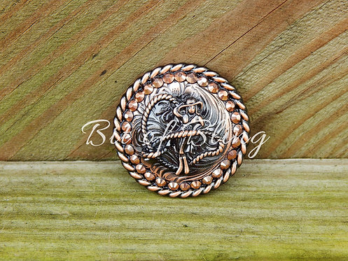 Copper Round Rope Edge Cowgirl Concho - Rose Gold