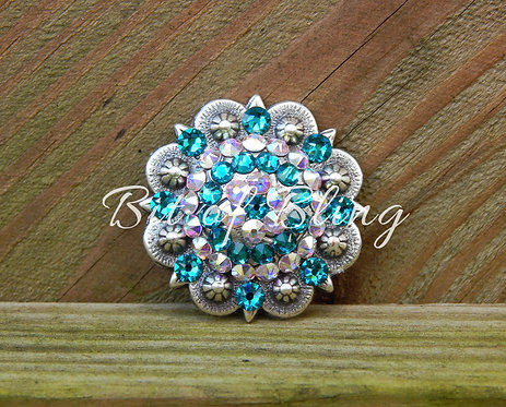 Antique Silver Round Berry Concho - Blue Zircon& Crystal AB