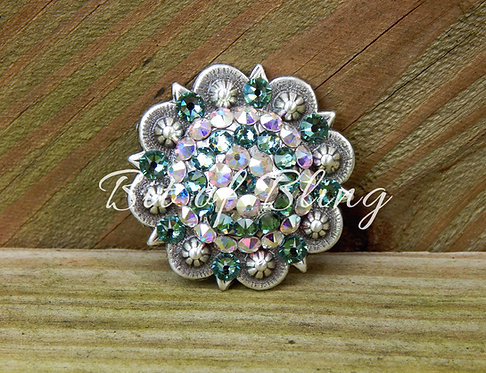 Antique Silver Round Berry Concho - Erinite& Crystal AB