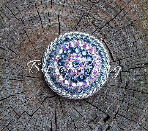 Shiny Silver Round Rope Edge Concho - Denim Blue & Crystal AB