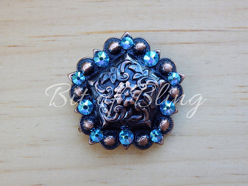 Copper Floral Pentagon Berry Concho - Aqua AB