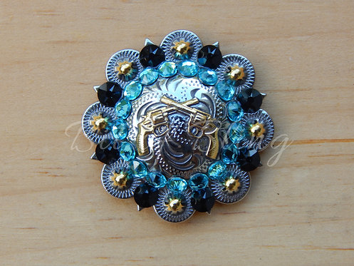 Silver & Gold Round Berry Crossed Pistols Concho - Jet & Lt. Turquoise