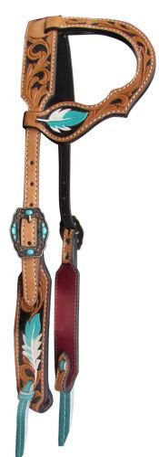 Turquoise Feather One Ear Leather Headstall