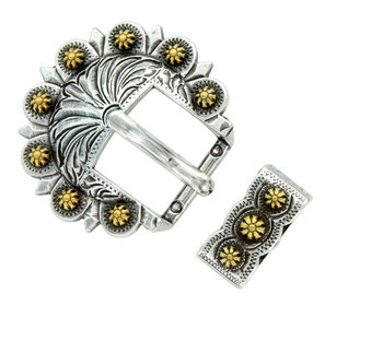 Antique Silver & Gold Berry 2pc Buckle