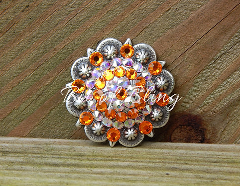 Antique Silver Round Berry Concho - Sun & Crystal AB