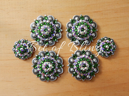 Antique Silver Round Berry Saddle Set - Fern Green& Crystal AB