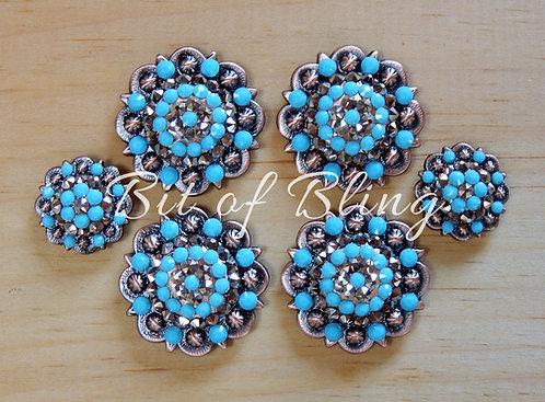 Copper Round Berry Saddle Set - Rose Gold & Turquoise