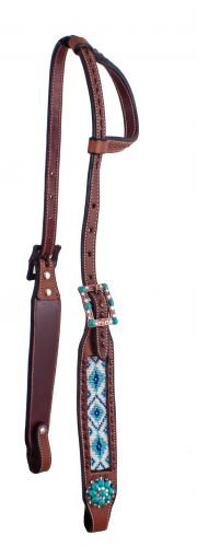 Teal & White Navajo Beaded Leather One Ear Headstall