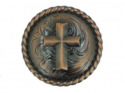 Antique Copper Round Rope Edge Cross Concho