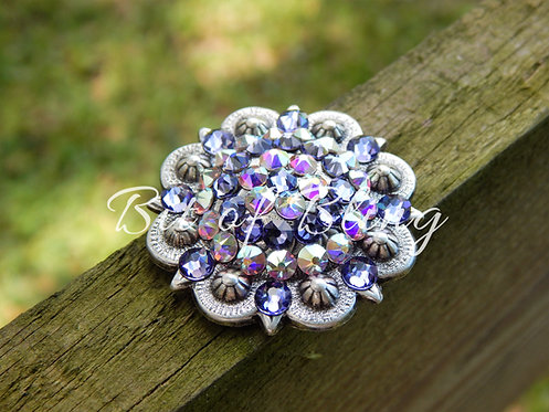 Antique Silver Round Berry Concho - Tanzanite & Crystal AB