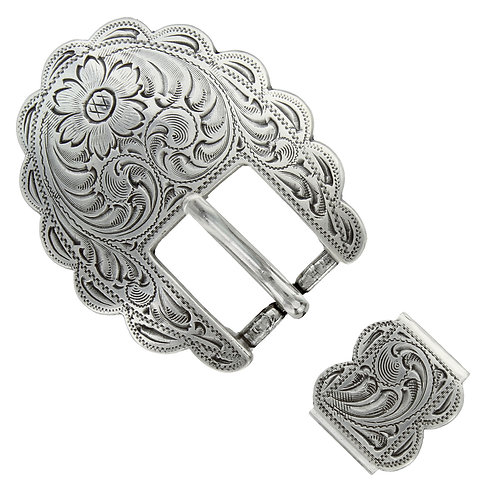 Antique Silver Scalloped 2pc Buckle