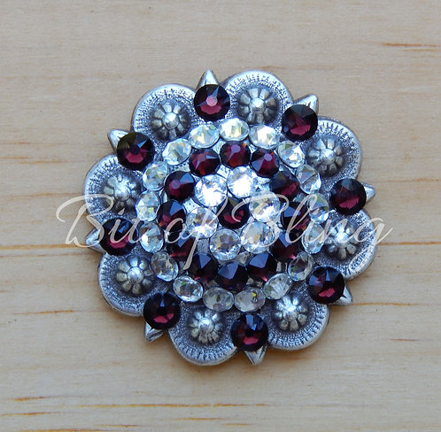 Antique Silver Round Berry Concho - Crystal & Burgundy