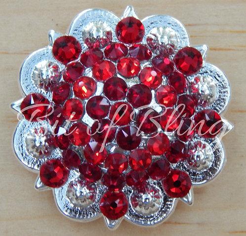 Shiny Silver Round Berry Concho - Lt. Siam & Siam