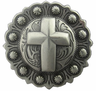 Antique Silver Round Berry Cross Concho
