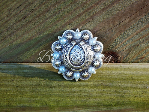 Antique Silver Round Berry Horseshoe Concho - Mint Pearls