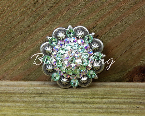 Antique Silver Round Berry Concho - Chrysolite& Crystal AB