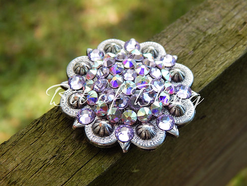Antique Silver Round Berry Concho - Violet & Crystal AB