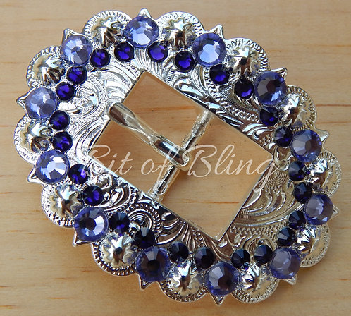 Shiny Silver Berry Cart Buckle - Tanzanite & Purple Velvet