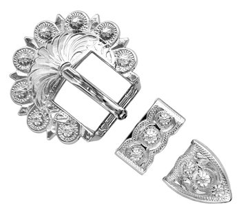 Shiny Silver Berry 3pc Buckle
