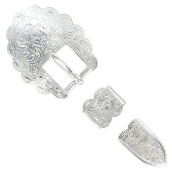 Shiny Silver Scalloped 3pc Buckle