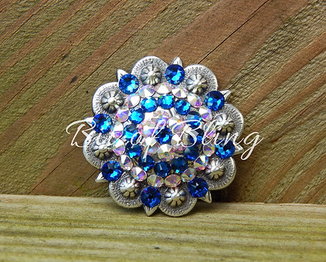 Antique Silver Round Berry Concho - Capri Blue & Crystal AB