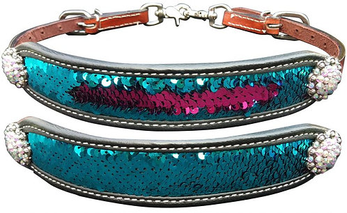 Teal & Pink Sequin Inlay Wither Strap