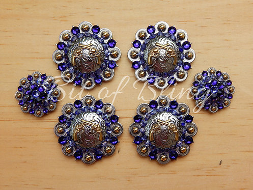 Silver & Gold Round Berry Crossed Pistols Saddle Set - Purple Velvet & Tanzanite