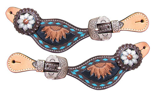 Turquoise Buckstitch Sunflower Spur Straps