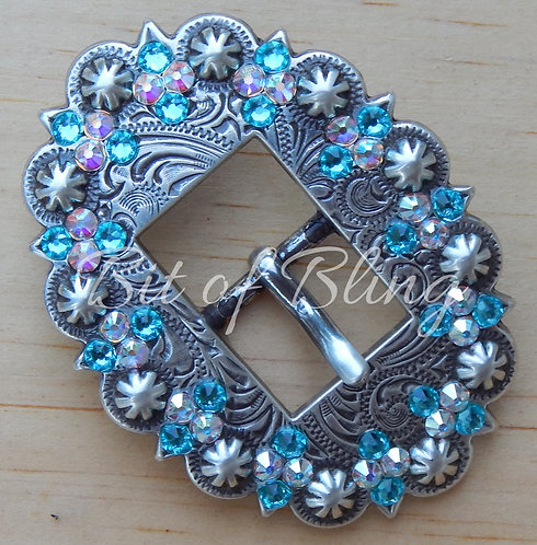 Antique Silver Berry Cart Buckle - Lt. Turquoise & Crystal AB