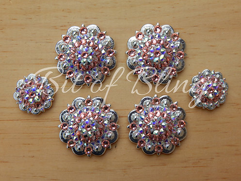 Shiny Silver Round Berry Saddle Set - Rose Peach & Crystal AB